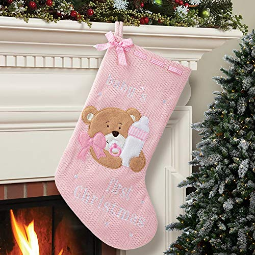 HAUMENLY Christmas Stocking, Baby Girl 1st Christmas, Pink Bear Xmas Sock Home Decoration for Mantle Hanging