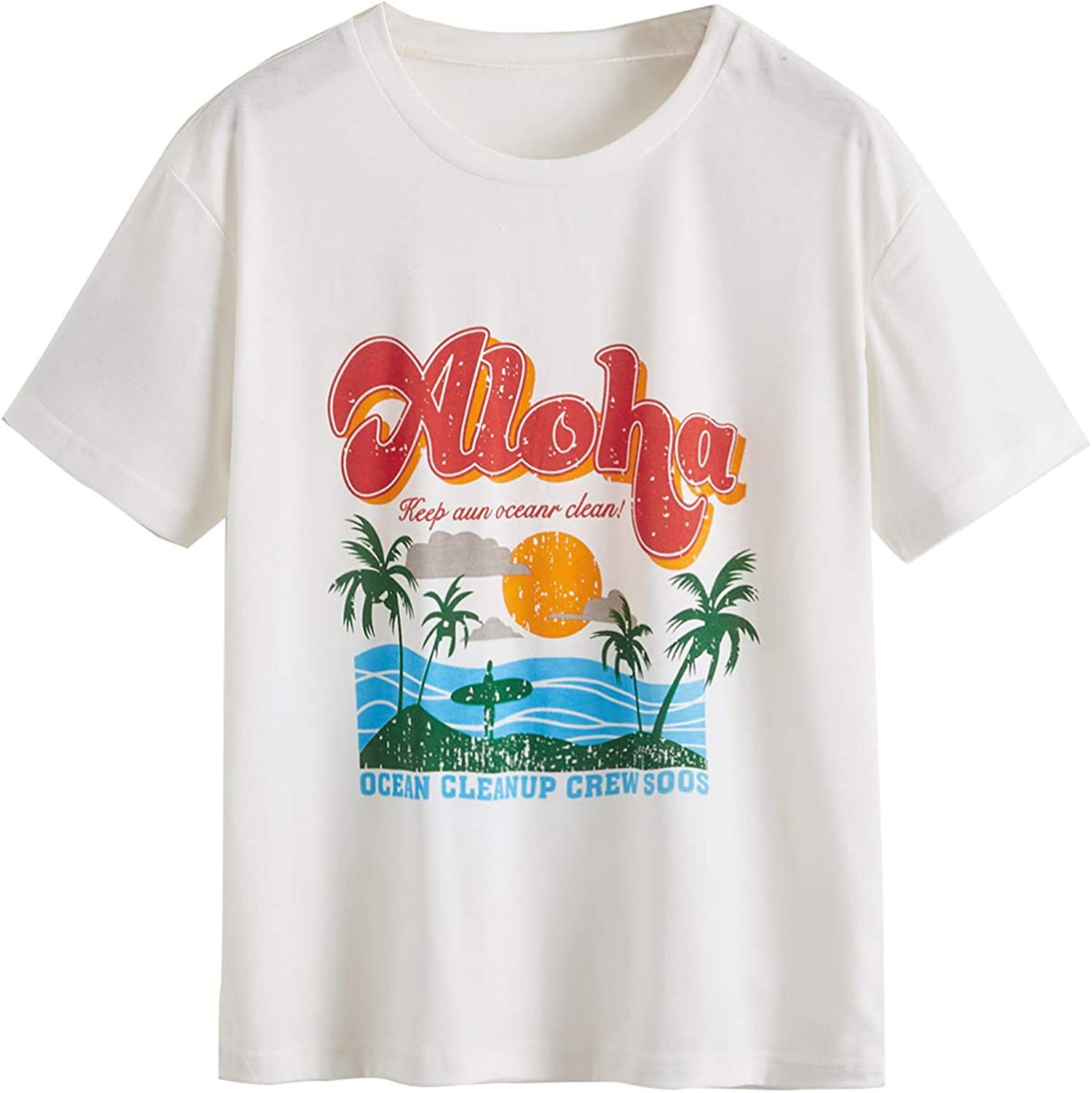 SheIn Women's Summer Tropical Graphic T Shirt for Beach Casual Letter Print Tee Short Sleeve Round Neck Top