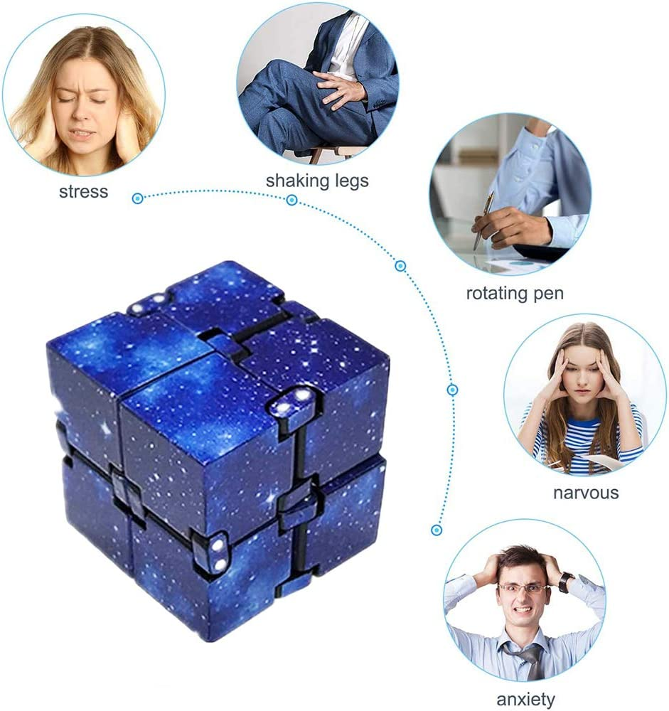 Adults Kid ADHD 3D Puzzle Cube Hand Wrist Twister Toys for Stress Relief Fidget Anti Anxiety Stress Infinity Cube Fidget Puzzle Flip Cube Ball with 3 PCS Stress Relief Bean Toys