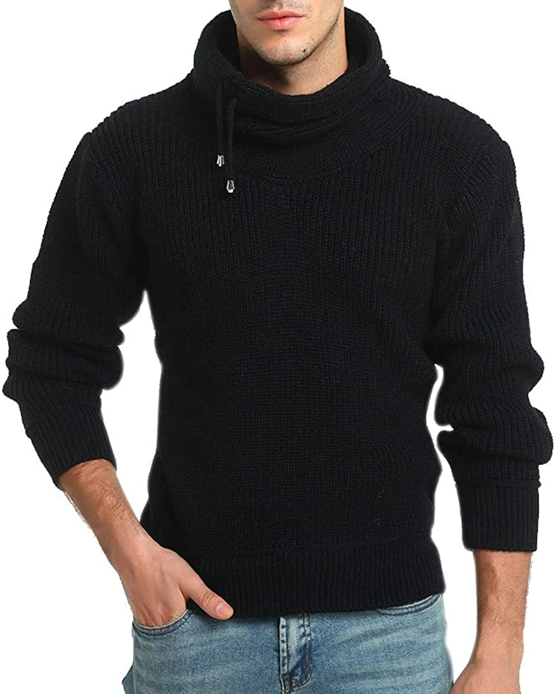 MODOQO Men's Stand Collar Sweaters Long Sleeve Warm Soft Knitwear for Autumn Winter