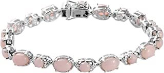 925 Sterling Silver Platinum Plated Oval Pink Opal Bracelet Jewelry for Women Gift Size 7.25