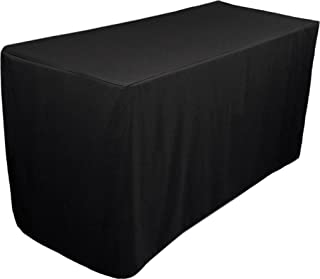Fitted Tablecloth - 6 Feet - Rectangular Table Cover - Fitted 30 by 72 inches - 100 Percent Polyester - by Utopia Kitchen (black)