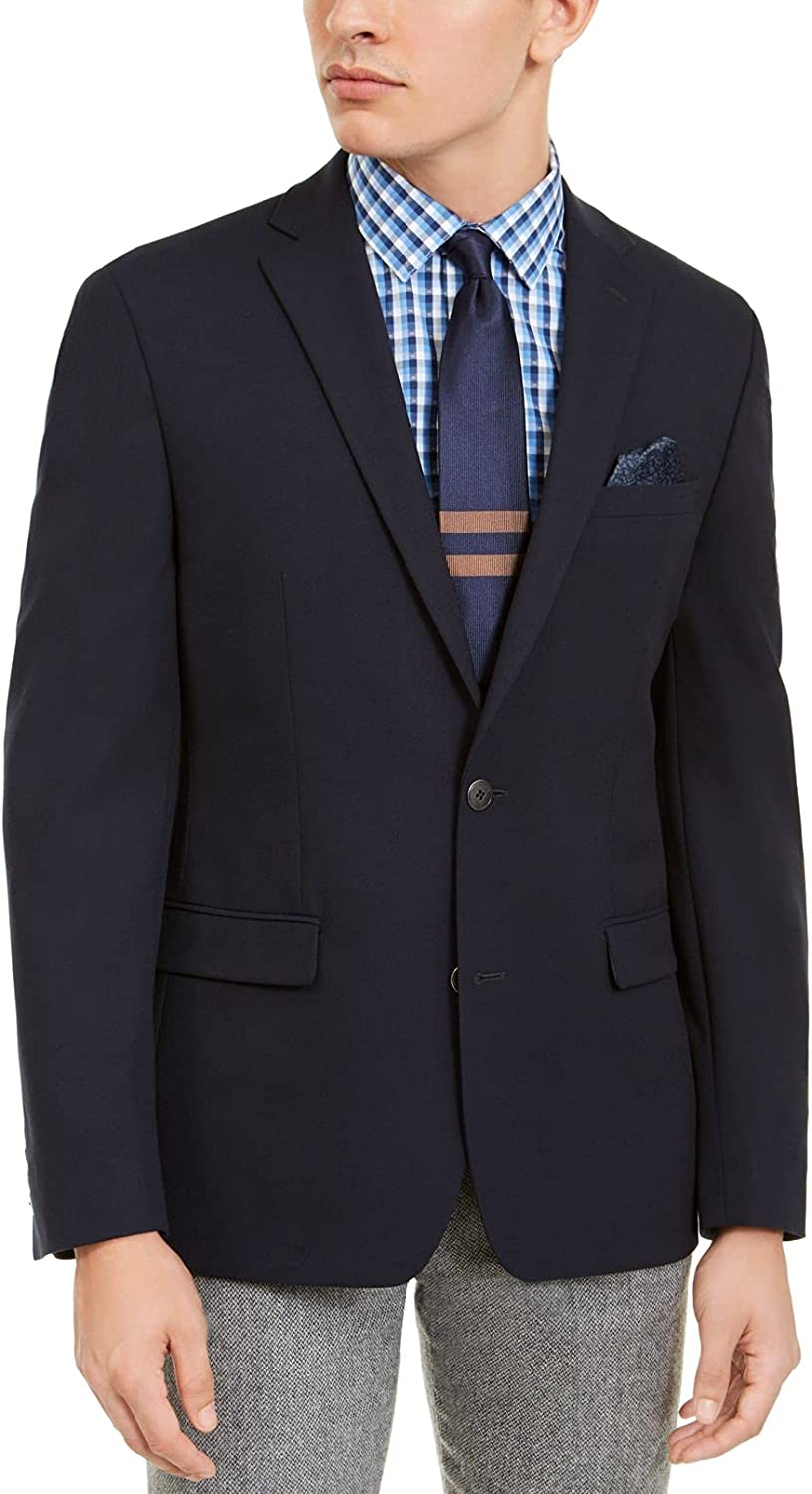 Bar III Mens Blazer Navy Slim Fit Two-Button Solid Blue 38
