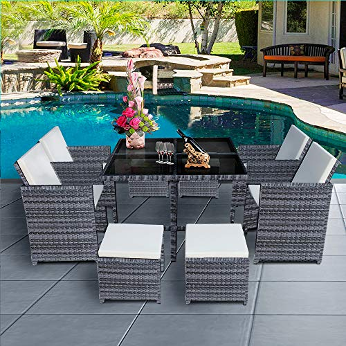 Panana 8 Seater Rattan Garden Furniture Set Dining Table and Chairs Stools Set Outdoor Patio and Conservatory Mixed Grey with Beige Cushion