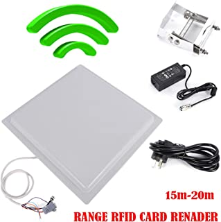 WUPYI UHF RFID Reader 15m Long Range 12dbi Antenna RS232/RS485/Wiegand Reader Parking System Access Control,US Stock (15M)