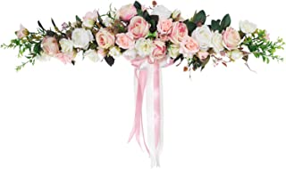 Lvydec Artificial Rose Flower Swag, 25 Inch Decorative Swag with Fake Roses, Green Leaves and Silk Ribbon for Wedding Arch Front Door Wall Decor