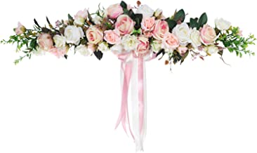 Lvydec Artificial Rose Flower Swag, 25 Inch Decorative Swag with Fake Roses, Green Leaves and Silk Ribbon for Wedding Arch...