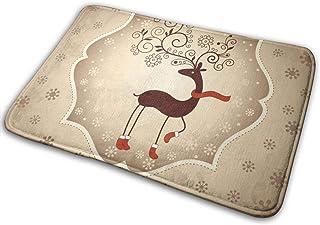 BLSYP Christmas Deer Imagen Alfombrilla para Puerta Alfombrillas Alfombrilla de Entrada Alfombra Antideslizante Alfombra p...