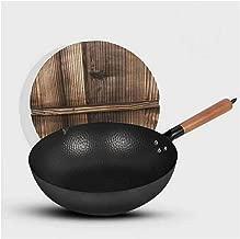 MoCa Factory House - Wok de hierro fundido con tapa de madera, 30,5 cm de diámetro y mango de madera grande, sartén Stir