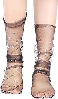 Fossen, Mujer Calcetines, Moda Glitter Star Transparente Malla Suave Elástico Calcetín
