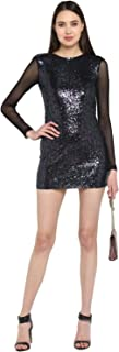 Peppytone Women's wear Sequined Black Short Party Dress