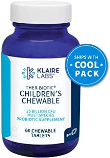 Klaire Labs Ther-Biotic Children's Chewable Probiotic - 25 Billion High CFU, The Original Hypoallergenic Probiotic for Kids with Lactobacillus & Bifidobacterium, Dairy-Free (60 Tablets)