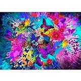MXJSUA Kit de pintura diamante 5D por números acrílico colorido mariposa diamante arte ocio completo taladro diamantes imitación bordado punto de cruz cuadros artes manualidades para adultos 40x30cm
