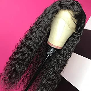 Giannay Curly Lace Front Wigs for Black Women Synthetic lace Wig Long Natural Wave Wig Pre Plucked Hairline Wigs with Baby Hair Heat Resistant Fiber 24 Inch Loose Curly 180% Density