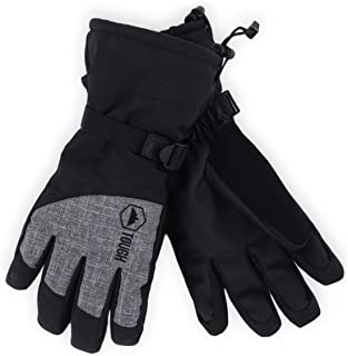 Winter Ski & Snowboard Gloves with Wrist Leashes - Waterproof & Windproof Snow Gloves for Skiing, Snowboarding, Shoveling - Nylon Shell, Thermal Insulation & Synthetic Leather Palm - Fits Men & Women