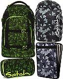 Satch Pack Green Bermuda 4er Set Schulrucksack, Schlamperbox, Heftebox & Regencape Schwarz