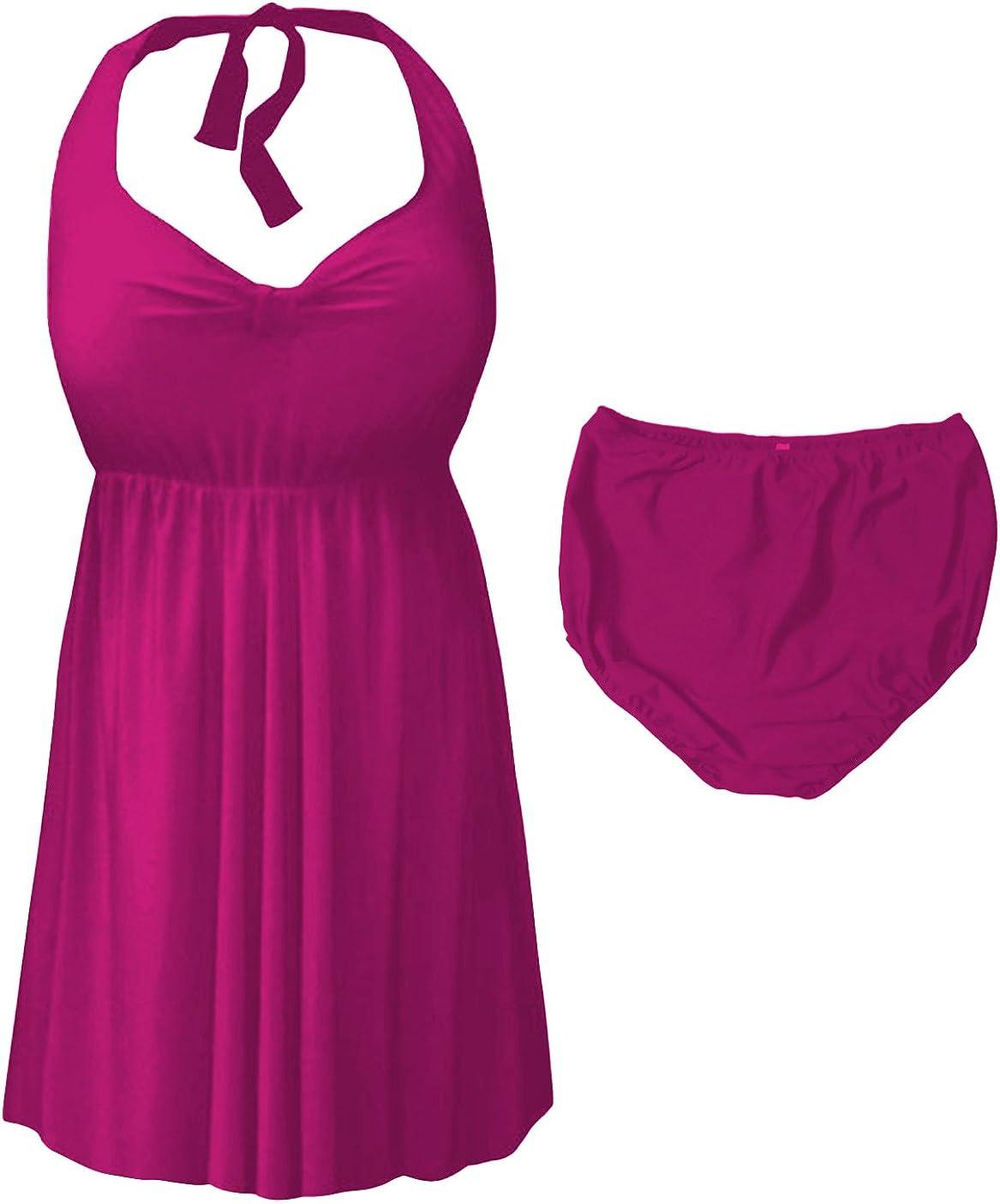 Sanctuarie Designs Magenta Pink 2 Piece Halter Style Plus Size Swimdress