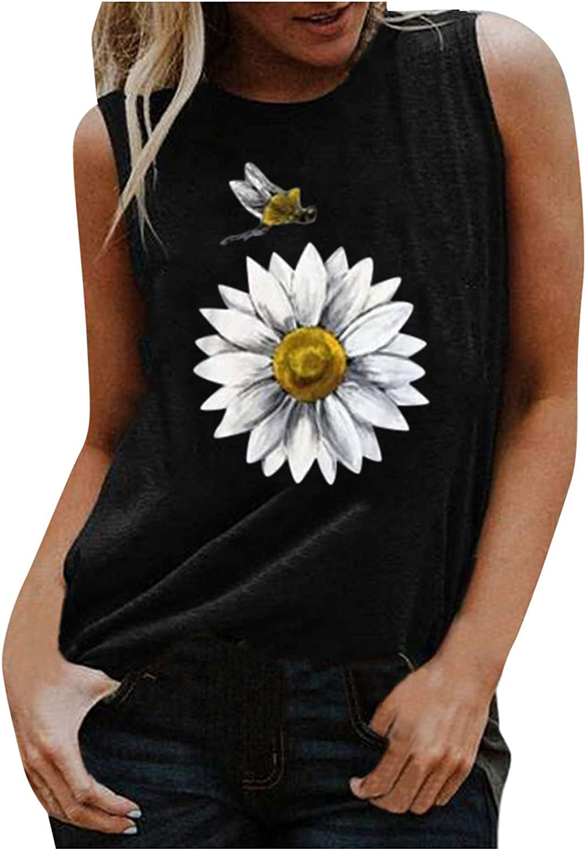 Womens Summer Tops,Womens Summer Vintage Cute Flower Printed Vest Round Neck Sleeveless Tshirt Tops Tunic J-Black