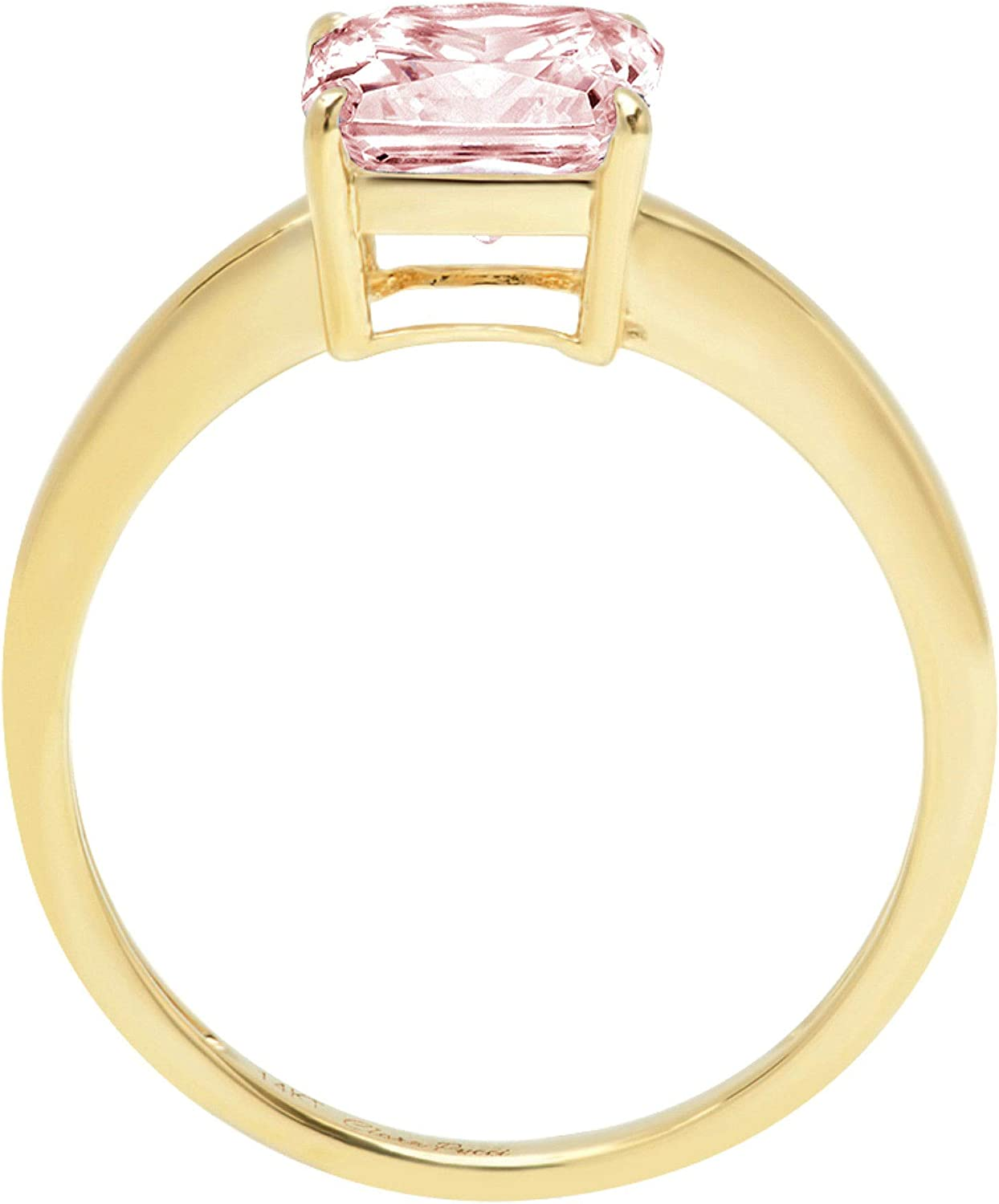 1.45ct Brilliant Asscher Cut Solitaire Pink Simulated Diamond CZ Ideal VVS1 D 4-Prong Classic Designer Statement Ring Solid Real 14k Yellow Gold for Women