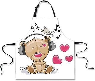 Cooking Apron,Music Decor,Cute Cartoon Teddy Bear with Headphones Twitting Singing Bird Heart Shapes,3D Print Apron.29.5
