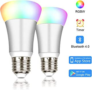 Bluetooth Smart LED Light Bulb, 16 Million RGB Color Changing Light with Multiple Smart Modes, Sync with Music, Wake up Light, Night Light, BR20 E27, iOS Android App, No Hub Required, 2 Pack