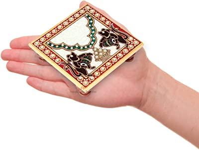 Marble Chowki Pair with Mouse Painted by Handicrafts Paradise