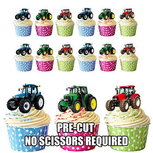 Vorgeschnittene Traktoren – Essbare Cupcake Topper/Kuchendekorationen (12 Stück)
