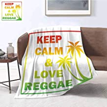 Rasta Luxury Special Grade Blanket Keep Calm and Love Reggae Quote in Ombre Rainbow Colors Music Themed Multi-Purpose use for Sofas etc. W70 x L84 Inch Light Green Red and Yellow
