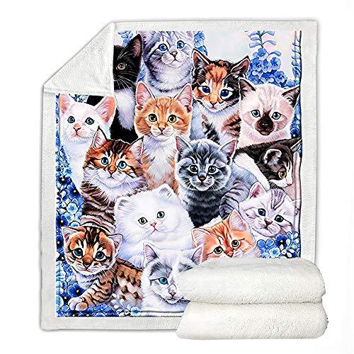 Decke mit Katzenmuster, Sherpa-Überwurf, Decke für Jungen und Mädchen, Kätzchen, Collage, super weiches Plüsch-Fleece, Überwurf, weich, warm, Bett, Sofa, Überwurf (127 x 152,4 cm)
