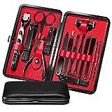 15 pcs Juegos de manicura y pedicura para hombres, Scienbeauty Kit de cortaúñas profesional herramientas de aseo de acero inoxidable con estuche herramientas de manicura y pedicura para viajes