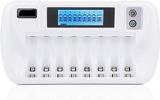 EU 9 Slots LCD batteriladdare för AA AAA 9V Ni-MH Ni-CD Li-ion uppladdningsbara batterier