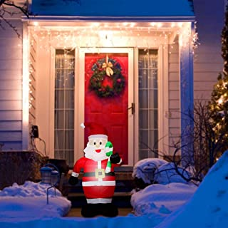 ANPHSIN 4 Ft Christmas Inflatables Candy Cane Santa Claus- Blow Up Santa Inflatable Decoration with Build-in Flashing Ligh...