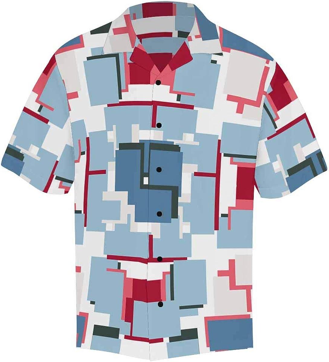 InterestPrint Men's Casual Button Down Short Sleeve Dark Color Geometric Hawaiian Shirt (S-5XL)