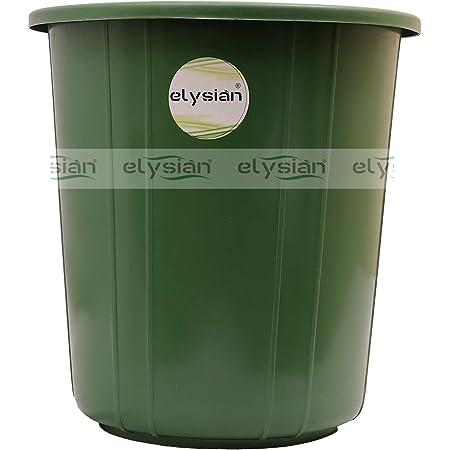Elysian Plastic Garbage Waste Dustbin/Kitchen, Office, Home Dustbin/Recycle bin (Green Color) - 1 Pc