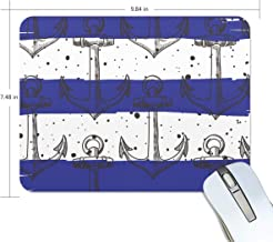 BlueViper Anchors Hipster Background Mouse Pad Smooth Surface Gaming Pad Thick Non-Slip Rubber Base Colorful Cute Design Art Artist Painting Unique Novelty Gift for School Office Game