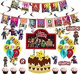 Roblox Theme Party Supplies, Roblox Globos Colgando Remolinos Decoraciones Cake Topper para Fiestas Decoraciones