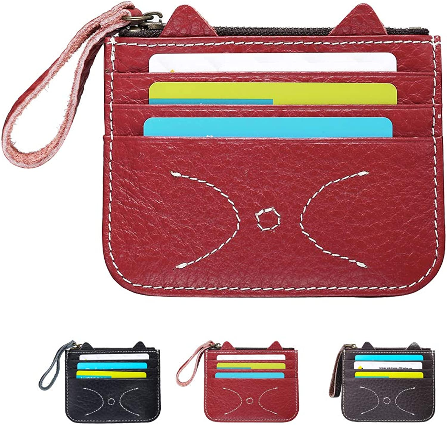 Womens Cat Wallet Cute Leather Accordion Card Wallet RFID Credit Card Holder for Girls