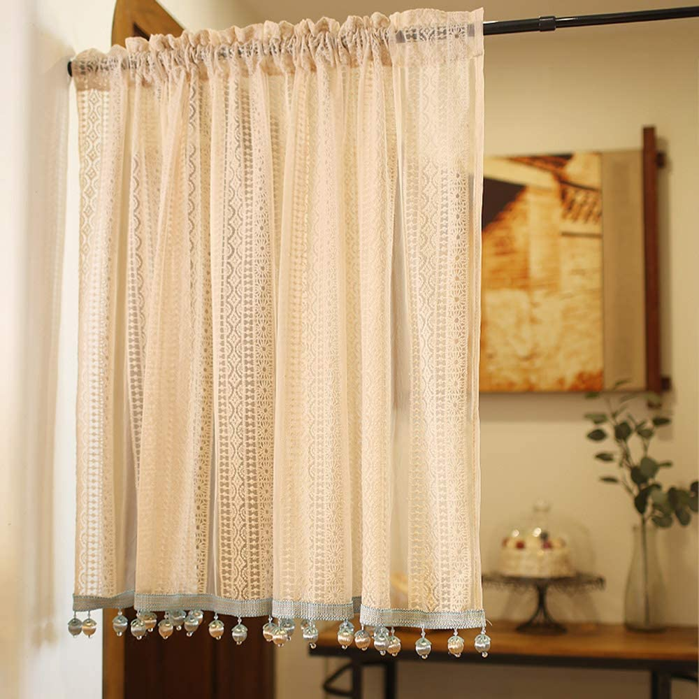 Gdhy Kitchen Sheer Curtain Window Valance Lace Embroidery Short Curtains Nordic Elegant Half Curtains Living Room Balcony Drape Pink Home Kitchen