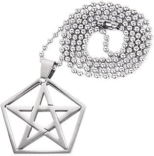 Pendientes Plata de Ley Estrella de 5 Puntas Pentagrama de gran protecci/ón y estuche