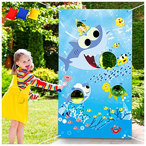 Shark Toss Games with 3 Been Bag Little Shark Party Supplies Been Bag Toss Games Party Games for Kids and Adults in Under The Sea, Shark Theme Party Baby Shower Kids' Birthday Party Summer Pool Party