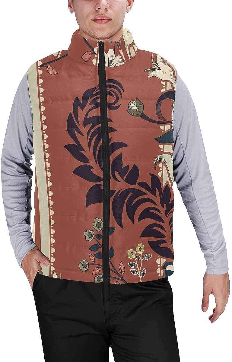 InterestPrint Men's Full-Zip Soft Warm Winter Outwear Vest Flat Animal and Bird Face in Bright Retro Colors