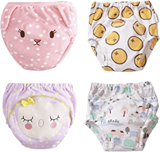 U0U 4-Pack Training Pants for Toddler Girls, Baby Girls Cotton Potty Training Underwear, Waterproof,Adorable and Washable