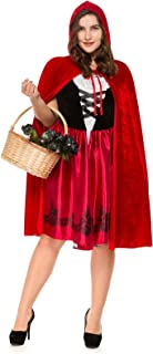 Women Plus-Size Halloween Cosplay Red Riding Hood Cape Fancy Dress Party Costume