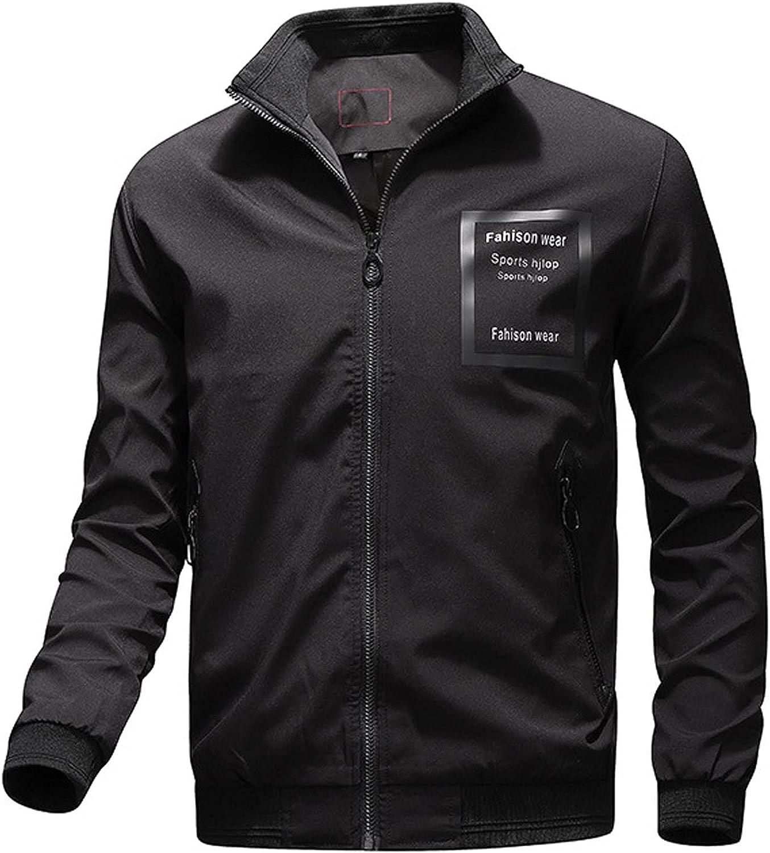 Huangse Waterproof Rain Jacket for Men Stand Collar Military Jacket Outdoor Lightweight Windproof Bomber Jacket