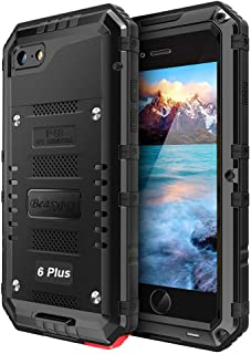 iPhone 6s Plus Case, Marrkey Military Grade IP68 Waterproof Dustproof Shockproof Full Body Sealed Underwater Case with Built-in Screen Protector Heavy Duty Metal Rugged Case for iPhone 6 Plus - Black