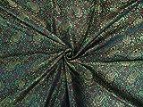 Seide Brokat Stoff grün, rot X schwarz 111,8cm by the