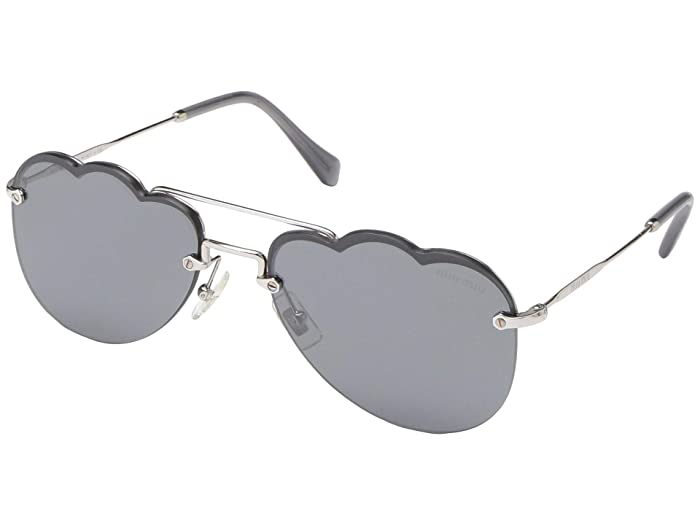 Miu Miu 0MU 56US (Silver/Dark Grey Silver Mirror) Fashion Sunglasses