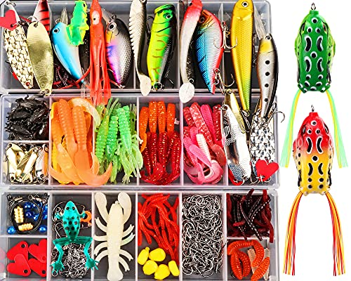 375pcs Lifelike Trout Carp Pike Perch Bass Fishing Lure Kit,2 Frog...