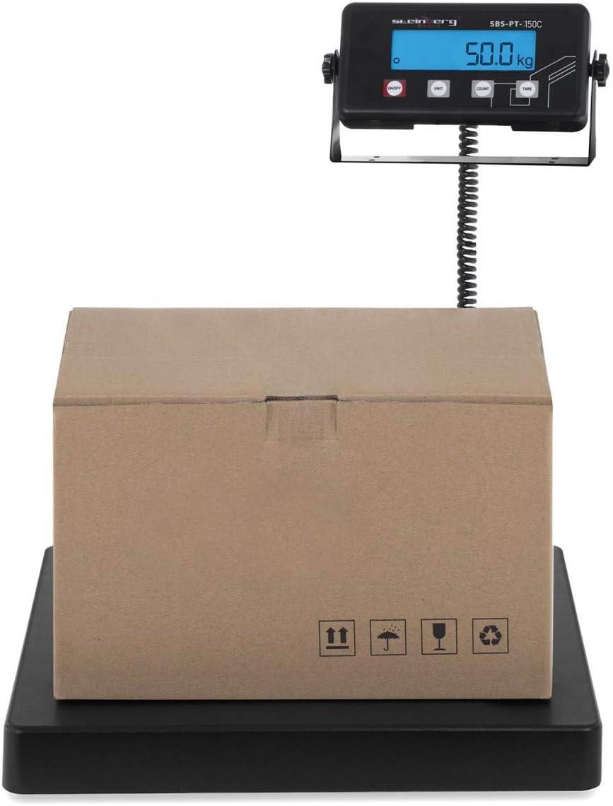 Steinberg Systems Báscula para Paquetería Balanza Digital para Paquetes SBS-PT-150C (125 kg / 20 g, Superficie de pesaje 40 x 40 cm, Pantalla LCD)