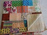Tribal Asian Textiles Banjara - Colcha Kantha hecha a mano de patchwork Kantha para cama tamaño Queen Ajrakh Ajrakh con estampado de bloques Kantha
